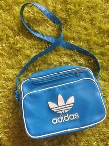 Adidas Unisex Sport Gym Messenger Bag Blue Trefoil Cross Body Shoulder Vintage