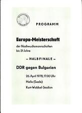 U 21 EM 26.04.1978 DDR - Bulgarien / Bulgaria