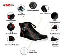 Motorcycle Boots Motorbike Shoes Leather Waterproof Touring CE Armour Sneakers