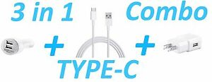 3 IN 1 TYPE C COMBO CAR + WALL CHARGER + EXTRA LONG USB CABLE FOR LG G7 V40 Q7+