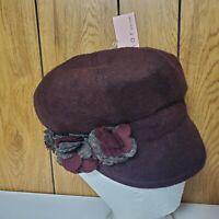 NEW Betmar Womens Wo Pippa Asymmetrical Cloche Hat Plum 1 Size b1263h Flower Hat