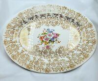 VINTAGE Homer Laughlin Stetson 22 K. Floral & Gold Filigree Oval Plate 11 1/2 IN