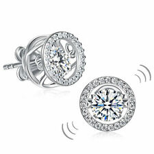 Classic Dancing Stone Stud Earrings Solid 925 Sterling Silver New Style FE8129