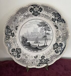 Antique Staffordshire Black Transferware Celtic China Plate by Enoch Wood & Sons
