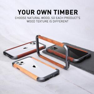 R-just For iPhone 12mini 11 Pro Max Wood Bumper Metal Aluminum Frame Case Cover