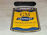 """VINTAGE """"CHEVROLET GM MOTOR OIL CAN"""" 11"""" PORCELAIN METAL CAR TRUCK GASOLINE SIGN"""