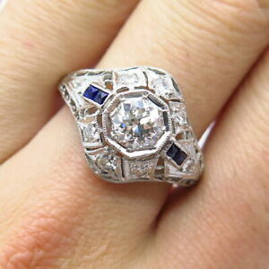 Antique 900 Platinum Old Miner Cut Center Diamond Approx. 1ct H VS2 Ring Size 10