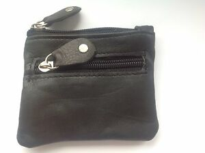 LADIES MENS GIRLS BOYS SOFT LEATHER BLACK ZIPPED COINS CHANGE WALLET PURSE