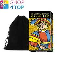 GOLDEN TAROT OF MARSEILLE DECK CARDS ESOTERIC LO SCARABEO WITH VELVET BAG NEW