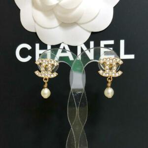 Chanel Earrings CC Logo Gold drop Pearl silver rhinestone 03A 652