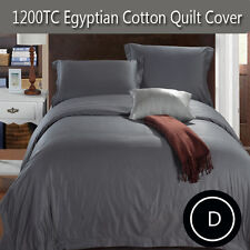 1200TC Egyptian Cotton Quilt/Doona/Duvet Cover Set in Pewter Grey- Double