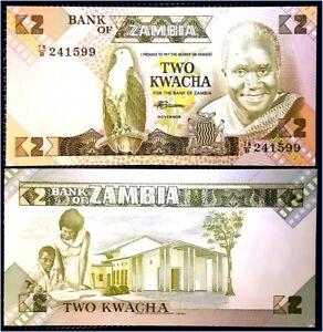 Billet Zambie 2 Kwacha TTB - Billet du Monde pas de prix de réserve