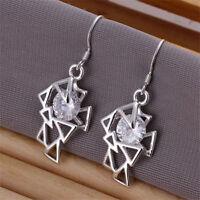 ASAMO Damen Ohrhänger mit Zirkonia Stein Ohrringe Silber plattiert O1209