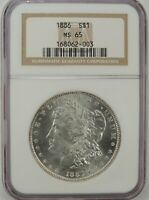 1886-P $1 MORGAN SILVER DOLLAR NGC MS65 #168062-003 GEM WITH EYE APPEAL!!!