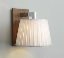 Astro Nola wood chrome wall light pleated white shade 60W E14