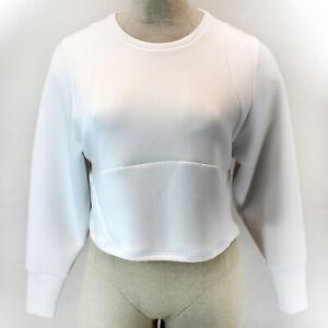 ATHLETA White Crew Neck Cropped Activewear Sweatshirt Top XX-Small