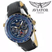 AVIATORS Pilot Watch Black Strap Military Mens Waterproof Blue Dial Chronograph