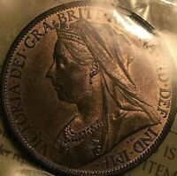 1901 GREAT BRITAIN VICTORIA PENNY COIN - ICCS Certified MS-64