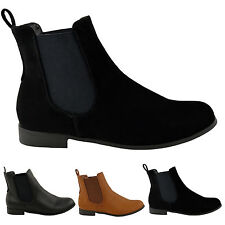Ladies Womens Ankle Chelsea Boot Elastic Pull on Riding Heel Shoes 7uk Black