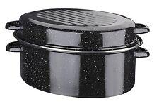 Gänsebräter Stahlemaille oval mit Chromring 42cm Von GSW - 400428