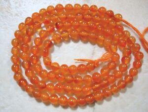 "CARNELIAN 3.5-4mm Round Gemstone Beads 14"" strand"