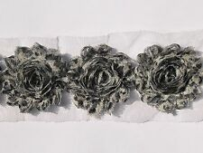 10 Snow Leopard shabby chiffon rose flower trim - for millinery & hairclips