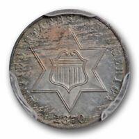 1870 3CS Three Cent Silver PCGS PR 63 Proof Key Date Low Mintage Toned