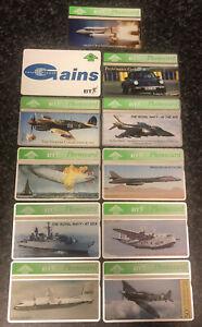 11 Military / Aviation / Porsche 911 / Shuttle BT Phonecards - British Telecom