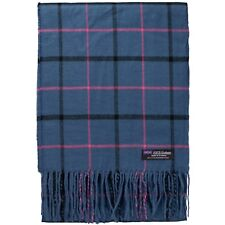 Women Cashmere Scarf Navy Blue Black Pink Big Nova Check Tartan Plaid SCOTLAND