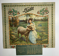 Bradley Knit Wear Advertising Calendar Sign Pretty Lady Farm Sheep Bo Peep