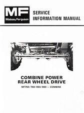 Massey Ferguson MF-750 760 850 860 Combine Power Rear Wheel  Service Manual