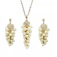GORGEOUS SUPERIOR QUALITY 18K ROSE GOLD PLATED & PEARL NECKLACE & EARRING SET