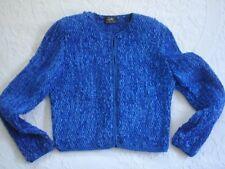 Vintage ESTELLE GRACER $250 Blue Hand Woven Cardigan Sweater Jacket - M - Rare