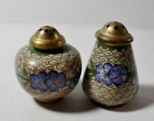 Vintage Cloisonne Salt & Pepper Shakers - Blue Flowers