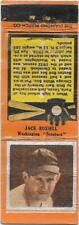 1934 Baseball Matchbook - Jack Russell - Washington Senators - Pitcher