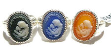 Daughter Child Jasperware Cameo Oval Ring Old Store Stock Sterling Silver Mother
