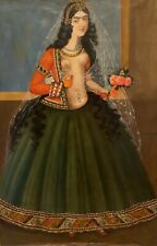 Antique Large 19 Century Qajar Oil Painting on Canvas / Persian Nude Princess
