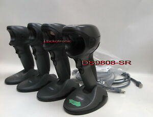 Lot of 4 Motorola Symbol Barcode Scanner DS9808 SR 1D 2D USB Black Hand Free