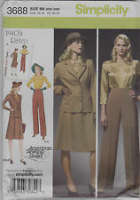 Simplicity Sewing Pattern 3688 Retro 1940s Blouse Skirt Pants & Jacket