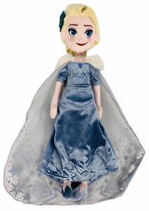 "Disney Store Frozen Elsa Princess Large Plush Stuffed Doll 18"" Inch Leaf Hair"