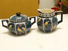 ANTIQUE ART DECO ROYAL DOULTON BIRDS BLUE CHINZ PERSIAN PARROTS CREAMER & SUGAR