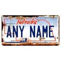 US Metal License Plate - Nebraska V2 Rusted, Personalise your own plate