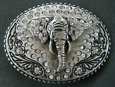 ELEPHANT BELT BUCKLE LUCKY RHINESTONE AFRICAN ANIMAL BOUCLE DE CEINTURE