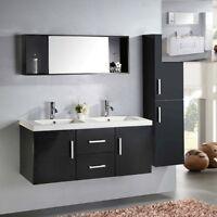 Mobile arredo bagno sospeso doppio lavabo moderno in ceramica bianco o nero  x
