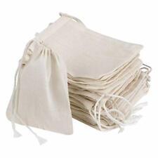 Akoak 20 Pcs 4 x 3 Inches Muslin Drawstring Bags,Natural Unbleached Cotton
