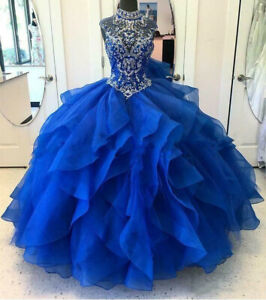 Royal Blue Quinceanera Dresses Modest Masquerade Ball Gowns Beades Sweet 16 Gown