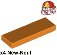 Lego - 4x Tile Plate Smooth 1x3 with Groove Orange 63864 New