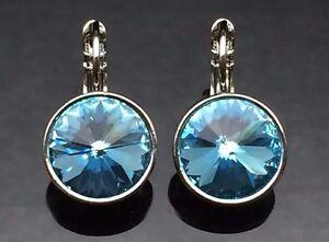 Swarovski Elements Aquamarine BLUE Crystal Earrings Gold Silver 13mm Wedding