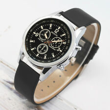 Fashion Man Men's Faux Leather Formal Casual Analog Quartz Wrist Watch Watches