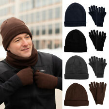 Men's Winter Hat and Gloves Set Warm Fleece Lining Beanie Knit 3M Thinsulate